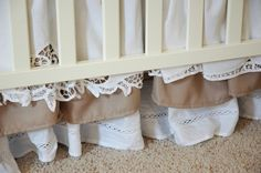 DIY lace and burlap ruffle crib skirt- literally exactly what I was looking for! About time