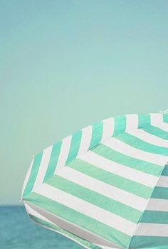 Beach Umbrella in Turquoise Stripes. It's so beautiful. Summer Of Love, Summer Days, Summer Fun, Summer Time, Summer Beach, Summer Dream, Beach Bum, Summer Things, Sunny Beach
