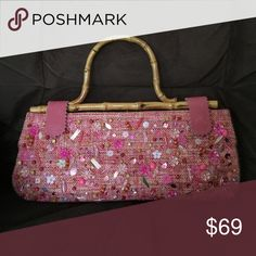 BCBG clutch Collector's choice. Pink tweet with jewels all over, even with a bamboo handle. Interior has a zipped pocket. A collection exclusive piece! BCBGMaxAzria Bags Clutches & Wristlets