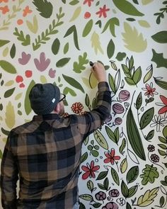 Wall Painting Decor, Mural Wall Art, Painting Wallpaper, Diy Wall Art, Painting Murals On Walls, Painted Wall Murals, Wall Painting Flowers, Kids Wall Murals, Hand Painted Wallpaper