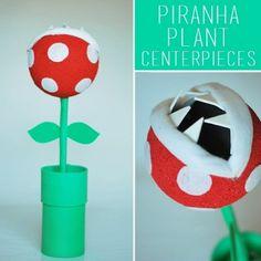 Make a Mario Cart Piranha Plant with paper tubes