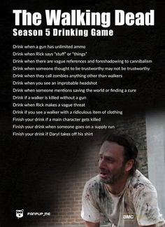 The Walking Dead Season 5 Drinking Game. On a scale of Daryl Dixon and Beth Greene, how drunk do you think you will be?