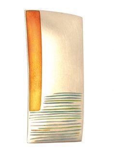 Helen Aitken-Kuhnen Beach Brooch Sterling, champlevé enamel