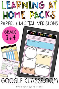 Learning at Home Pack-Year 3 - & Printable Version (Distance Learning) Name Activities, Classroom Activities, Classroom Ideas, Primary Classroom, Google Classroom, School Resources, Learning Resources, Grade 3, Fourth Grade