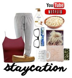 """""""Staycation/sleepover"""" by asvpkateee ❤ liked on Polyvore featuring UGG, M&Co, Ray-Ban, Dove and Casetify"""