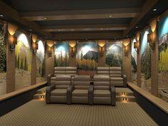 Home Theater Murals Design Ideas Basement Theatre Themes 3D