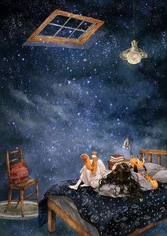 별 내리는 밤 (Starry night) - Bed and Bedcover Girl Pose, Paul Verlaine, Night Illustration, Star Painting, Go Wallpaper, Forest Girl, Image Manga, Moon Art, Anime Art Girl