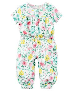 "Baby Girl Floral French Terry Jumpsuit | <a href=""http://Carters.com"" rel=""nofollow"" target=""_blank"">Carters.com</a>"