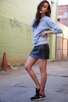 30 ways to wear a black leather skirt - gray sweatshirt + Nike tennis shoes // Ashley Ring my Bell