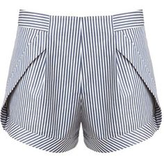 Thakoon Addition Blue Stripe Side Panel Shorts