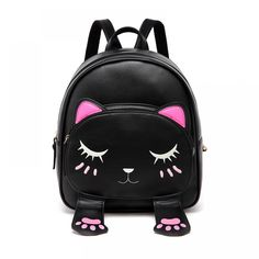 Cheap cat backpack, Buy Quality backpack for directly from China cute cat backpack Suppliers: DIOMO Cute Cat Backpacks for Girls Female Bag Small Backpacks for Teenagers Cartoon Women Backpack Black Beige Bagpack sac a dos Cat Backpack, Black Backpack, Leather Backpack, Pu Leather, Small Backpacks For Girls, Girl Backpacks, Mini Mochila, Cat Bag, Cloth Bags