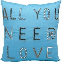 Nourison Luminecence All You Need Is Love 18 inch x 18 inch Decorative Pillow, Blue
