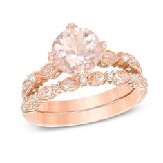 Precious Bride™ 8.0mm Morganite and 1/3 CT. T.W. Diamond  Vintage-Style Bridal Set in 14K Rose Gold