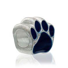 5  European Style Large Hole Charm Beads Animal Paw Silver