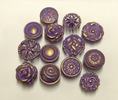 FREE SHIPPING Drawer Pulls Knobs Purple Amethyst Collection 12 Vintage Reclaimed and  Handmade Flowers Roses Shabby Distressed Cottage Chic