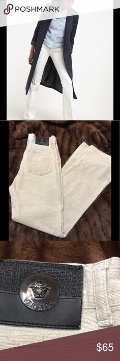 "VERSACE JEANS Cute pair of Versace jeans in a creamy heather shade. Tagged a size 28, they measure 13 1/2""across at the waist, 28"" inseam and have a 9"" rise. In EUC with no stains or tears.  All reasonable offers welcome. Versace Jeans"