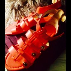NWOT COACH BRIGHT CORAL LEATHER SANDALS 7 1/2  VIVID! Auth. NWOT pr. COACH leather Ladies Sandals! Great color for tanned tootsies- single functional ankle toggle closure. Gold tone toggle hardware. Fits 71/2 or a small 8. Chic pop of color , I/8 th inch rubber heel. Price Firm unless bundled. Still a great buy! Was a display item, but no wear or damage-  Coach Shoes Sandals