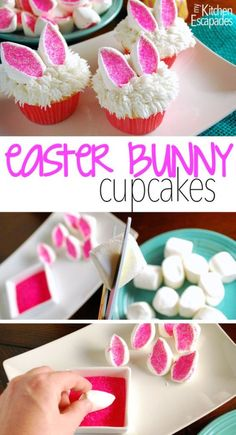 What a great Easter cupcake idea! These little bunny ears cupcakes are super easy to make and super cute! cupcakes ideas 17 Easy Easter Cupcake Recipes - Delicious and Fun! Easter Bunny Cupcakes, Cute Easter Bunny, Hoppy Easter, Easter Cupcake Decorations, Easter Cakes Decorating, Bunny Cakes, Easter Funny, Cupcakes Decorating, Easter Deserts