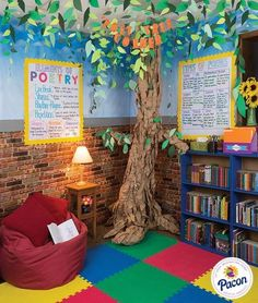 Great space for students to read relax and learn Features Fadeless Reclaimed Brick Fadeless Wispy Clouds Pacon Natural Kraft Wrapping Paper Tru-Ray Construction Paper Bordette Borders Pacon Anchor Charts and Classroom Keepers. Reading Corner Classroom, Classroom Setting, Classroom Setup, Classroom Design, Future Classroom, Garden Theme Classroom, Reading Corner Kids, Modern Classroom, Classroom Libraries