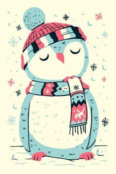 owl in the snow by Greg Abbott Illustration Noel, Christmas Illustration, Illustrations, Winter Illustration, Pinguin Drawing, Christmas Art, Vintage Christmas, Art Mignon, Penguin Love
