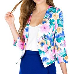 Abetteric Women Autumn Outwear Tops Print Long Sleeve Blazer Suit Coat Tops As picture XS -- You can get additional details at the image link. (This is an affiliate link) #WomensAutomnFashionBlazersSuitJackets
