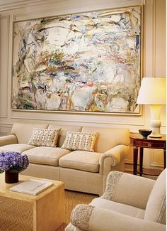 Interior design Peter Marino, painting Joan Mitchell via Architectural Digest- modern art, traditional furnishings Joan Mitchell, Architectural Digest, Abstract Expressionism, Abstract Art, Large Scale Art, Interior Design Photos, Interior Ideas, Decoration Design, Traditional Design