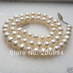 """8-9mm White Freshwater Pearl Necklace 17"""""""
