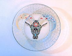 Country Gifts - Hand Painted Glass - Country Dinnerware - Ranch Decor - Native American Art - Indian Art - Country Decor - Decorative Plates