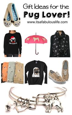 Pug slippers, pug shirts, pug scarves, pug jewelry, pug shoes, pug umbrella - gift ideas for pug dog lovers