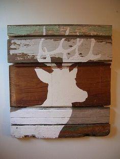 Deer wood panel decor  - gift for Adam