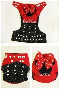 Cute Cloth Diaper, Cloth Diaper Tutorial. Minnie Mouse Design. #MinnieMouse