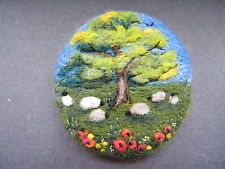Handmade needle felted brooch/Gift    'Under the Oak'   by Tracey Dunn
