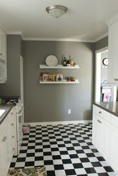black and white floor- kitchen or laundry room