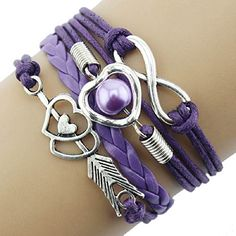 Bestpriceam (Tm) Infinity Love Heart Pearl Friendship Antique Leather Charm Bracelet (Purple): Package Include: Infinity Love Heart Pearl Friendship Antique Leather Charm Bracelet(without retail package) Leather Pearl Bracelet, Leather Charm Bracelets, Cuff Jewelry, Leather Jewelry, Jewelry Case, Pandora Jewelry, Gemstone Jewelry, Jewlery, Jewelry Watches