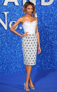 Jourdan Dunn from The Best of the Red Carpet  Breathtaking! The model owns the blue carpet in this delightful Ralph & Russo cocktail gown.