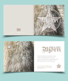 Cool boy birth announcement card bear fur / Stoer Geboortekaartje Jongen beren vacht   Jutenjul design