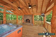 """Valentine's view is the perfect family mountain getaway this large cabin will sleep as many as 17 and it works well for large groups including family reunions or weddings. It offers a wide variety of amenities including a wood burning fireplace, fully equipped kitchen, and four bedrooms in the """"main house"""" including a master bedroom downstairs with a king size bed and an indoor two person jacuzzi and access to the outdoor deck with a mountain view."""