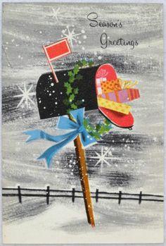 50s Mid Century Mailbox & Snowflakes-Vintage Christmas Greeting Card