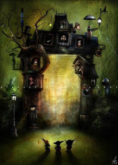 Mixed Media by Alexander Jansson - Halloween, Witch, Goblin, Black Cat, Jack-O-Lantern, Bat, Skull, Ghost, Spooky, Full Moon, Pumpkin, Trick or Treat, Autumn, Fall, Haunting, Scarecrow, Magic Potion, Creepy