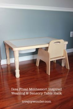 Ikea Flisat Children's Table Hack for a Montessori Weaning Table and a Sensory Table for a toddler.