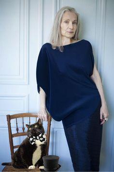 Tanya Drouginska (age 65) Top Model/Actress in Issey Miyake fashions in, Paris, France
