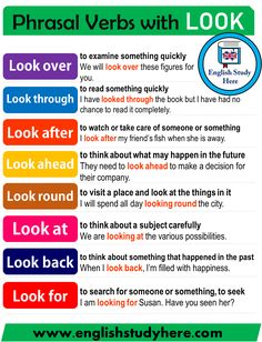 Phrasal Verbs with LOOK in English - English Study Here English Grammar Notes, Teaching English Grammar, English Writing Skills, English Vocabulary Words, Learn English Words, Grammar And Vocabulary, English Idioms, English Phrases, English Language Learning