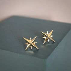Recycled 14k gold Compass Star Studs