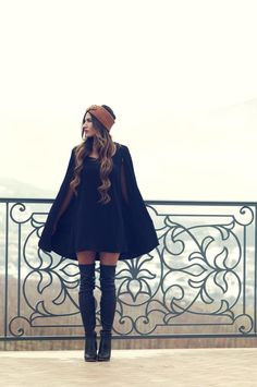 Katelynne of Youth Quaker in the Angel Cape Dress || Get the dress: http://www.nastygal.com/clothes/nasty-gal-angel-cape-dress-black