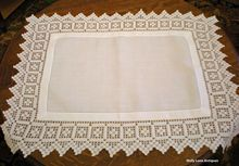 Vintage Linen And Crochet Lace Tray Cloth  $78.00