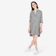 EVERLANE The Cotton Poplin Collarless Shirt Dress USD65