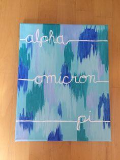 Alpha Omicron Pi - AOII canvas - sorority canvas - blue
