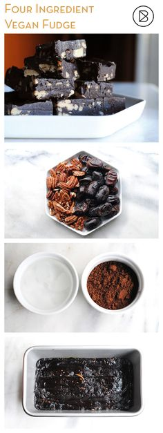 Whoa! Did you know you can make a delicious fudgy treat with 4 simple ingredients? Seriously easy and delicious. These are vegan, paleo and nearly raw!   http://theblenderist.com/vegan-chocolate-pecan-fudge-nearly-raw/