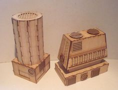 Cooling towers. laser cut buildings from http://www.wargame-model-mods.co.uk/