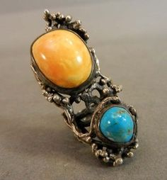 Sculptural Silver Amber & Turquoise Ring - this is quite long and would reach past my knuckle.